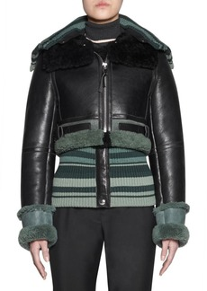 Acne Studios Crop Knit Shearling & Leather Jacket