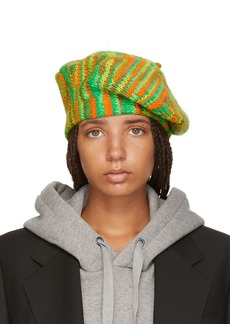 Acne Green & Orange Knit Beret