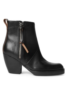 Acne Leather Side Zip Bootie