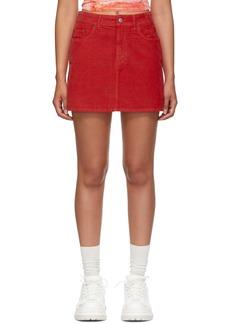 Acne Studios Red Blå Konst Corduroy Miniskirt