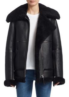 Acne Shearling-Trimmed Leather Biker Jacket