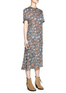 Acne Short Sleeve Floral Print Midi Dress