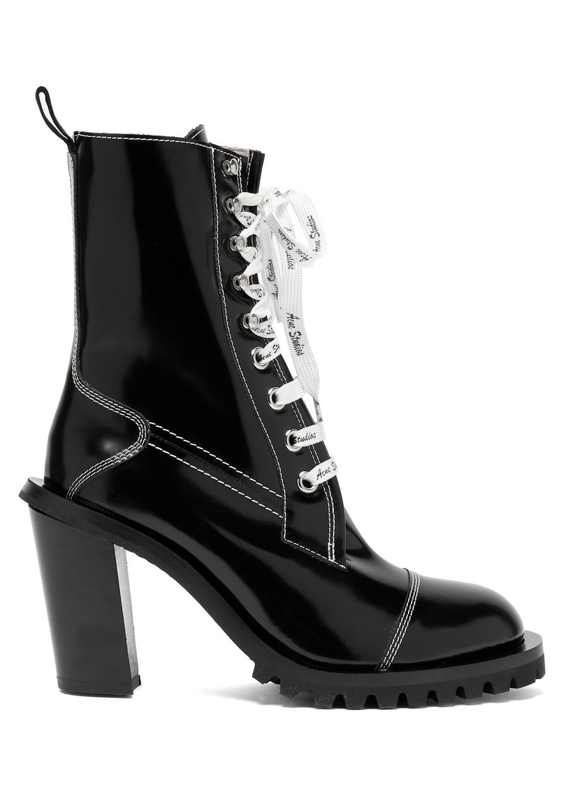d53bb09f81 Block-heel topstitched leather ankle boots