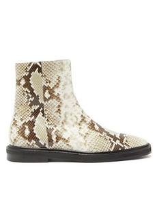 Acne Studios Breaker python-effect leather ankle boots