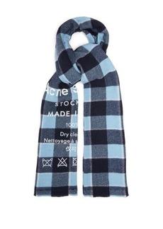 Acne Studios Cassiar logo-print checked virgin wool scarf