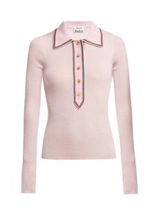 Acne Studios Contrast-trim long-sleeved wool polo shirt