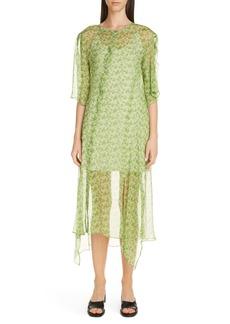 Acne Studios Dagny Floral Asymmetrical Silk Dress