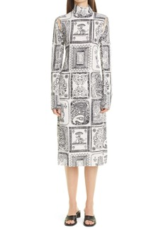 Acne Studios Darinka Frames Print Long Sleeve Crepon Dress