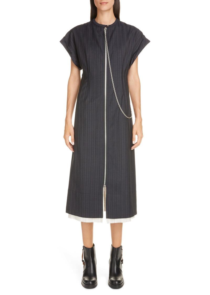 Acne Studios Di Chain Detail Pinstripe Midi Dress