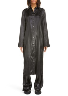 Acne Studios Dimara Tech Long Sleeve Satin Midi Shirtdress