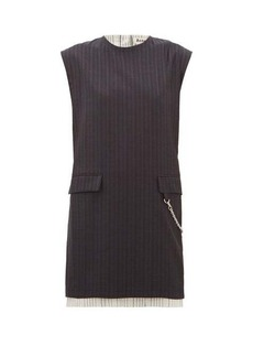 Acne Studios Doniella chain and striped-wool mini dress