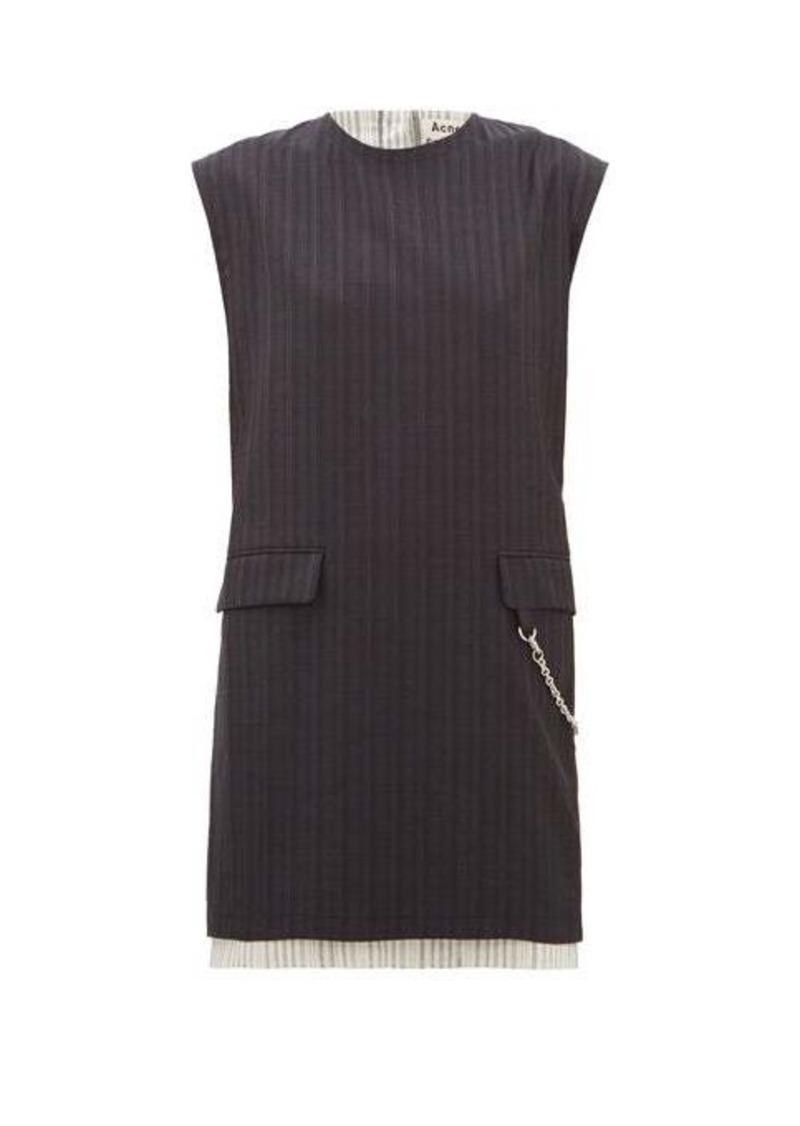 Acne Studios Doniella chain and striped-wool mini dress