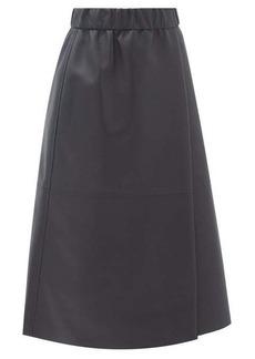 Acne Studios Elasticated-waist leather wrap skirt