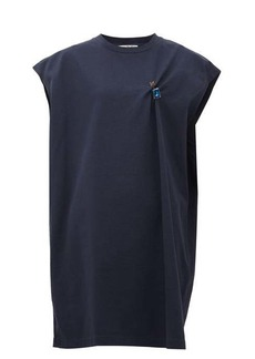 Acne Studios Ering crystal-brooch cotton-jersey T-shirt dress