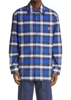 Acne Studios Face Patch Plaid Flannel Button-Up Shirt