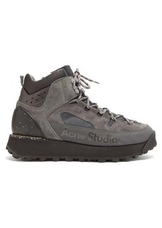 Acne Studios Flatform suede and mesh hiking boots