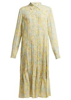 Acne Studios Floral-print pleated crepe dress