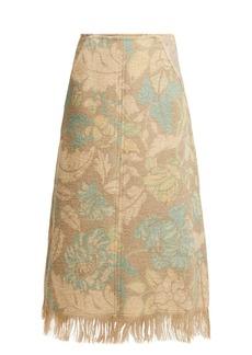 Acne Studios Fringed floral-print A-line skirt