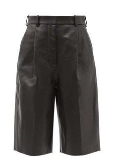 Acne Studios High-rise pleated leather shorts