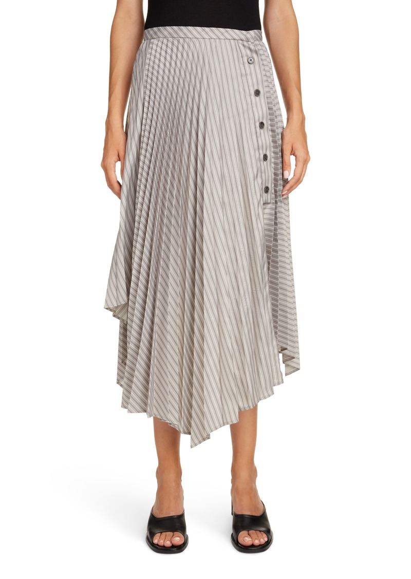 Acne Studios Ilia Asymmetrical Pleated Pinstripe Midi Skirt