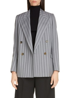 Acne Studios Janny Double Breasted Pinstripe Wool Blazer