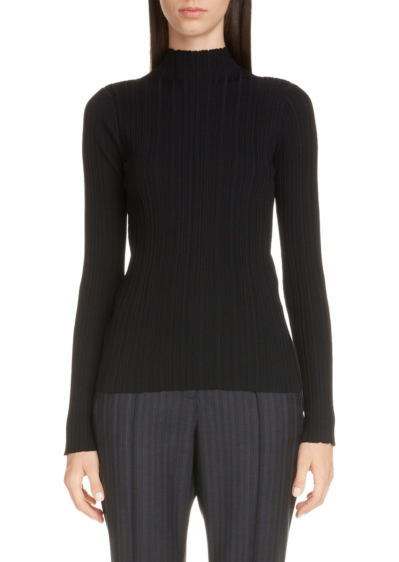 Acne Studios Katina Funnel Neck Cotton Blend Rib Sweater