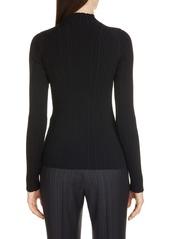 Acne Studios Katina Funnel Neck Cotton Blend Rib Sweater