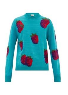 Acne Studios Koray intarsia-raspberry wool-blend sweater