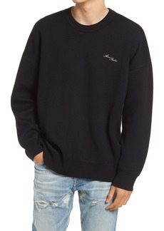 Acne Studios Logo Embroidered Oversize Cotton & Wool Sweater