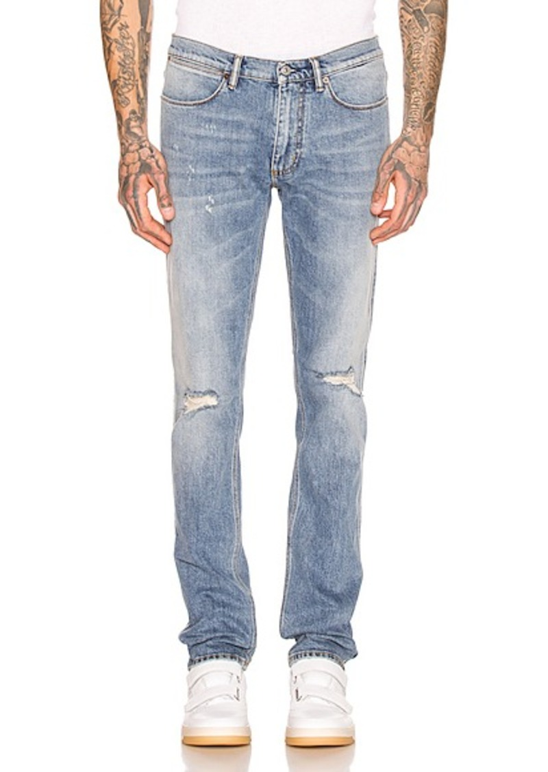 Acne Studios Max Mid Ripped 5 Pocket Denim Jeans