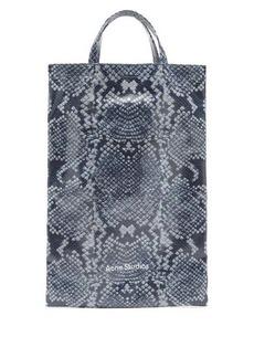 Acne Studios Medium snake-print cotton-canvas tote bag
