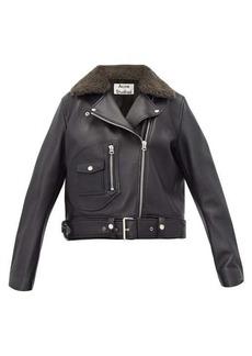 Acne Studios Merlyn shearling-collar leather biker jacket