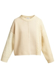 Acne Studios Patchwork cable-knit wool sweater