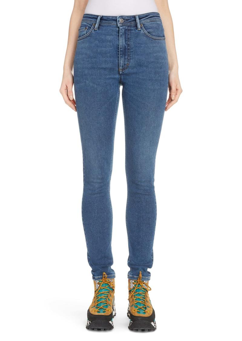 Acne Studios Peg High Waist Skinny Jeans (Mid Blue)