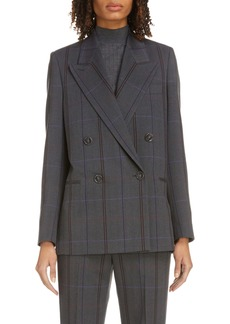 Acne Studios Plaid Double Breasted Wool Blend Blazer