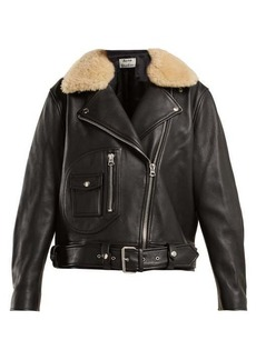 Acne Studios Shearling collar leather biker jacket
