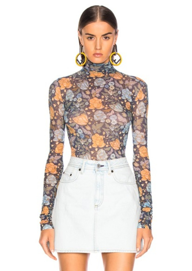 Acne Studios Sheer Floral Turtleneck Top