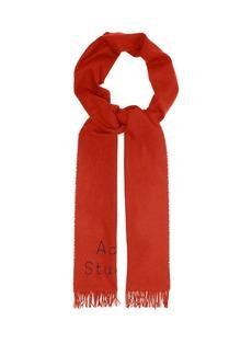 Acne Studios Skinny logo wool-twill scarf