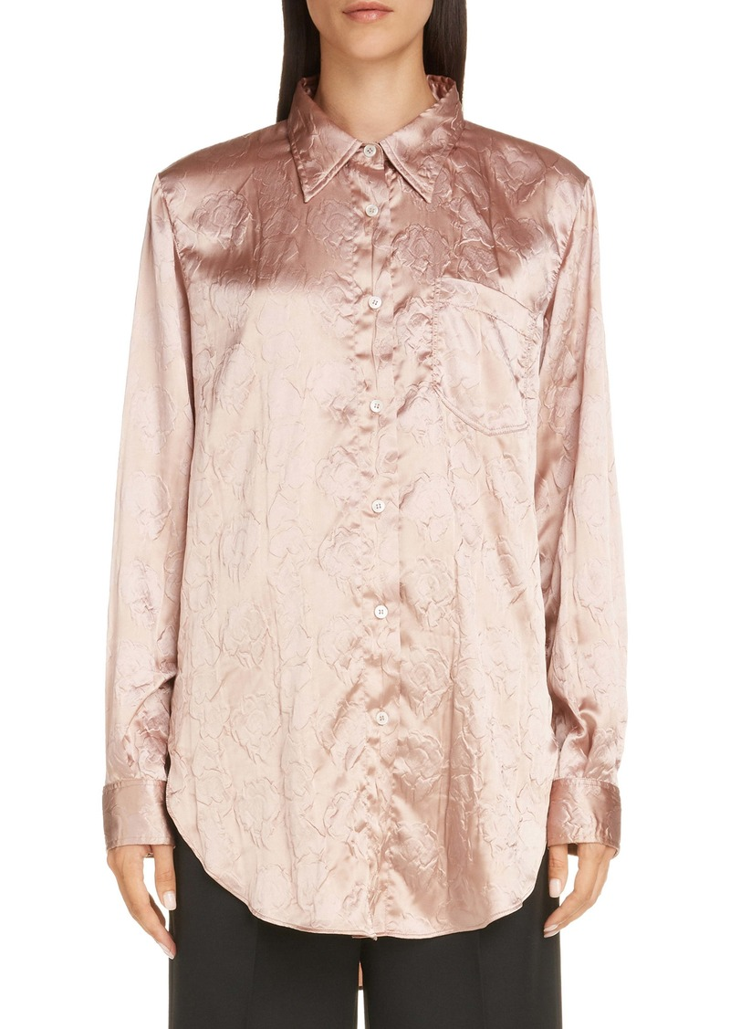 Acne Studios Sophie Floral Embossed Satin Button-Up Shirt