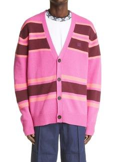 Acne Studios Stripe Face Patch Wool Cardigan