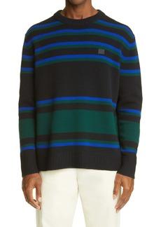 Acne Studios Stripe Face Patch Wool Sweater
