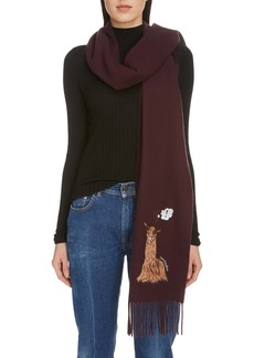Acne Studios Vichi Animal Embroidery Wool Scarf