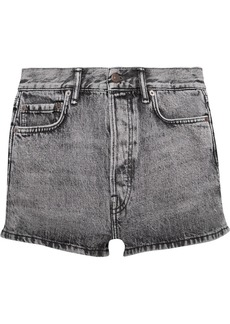Acne Studios Woman Acid-wash Denim Shorts Black