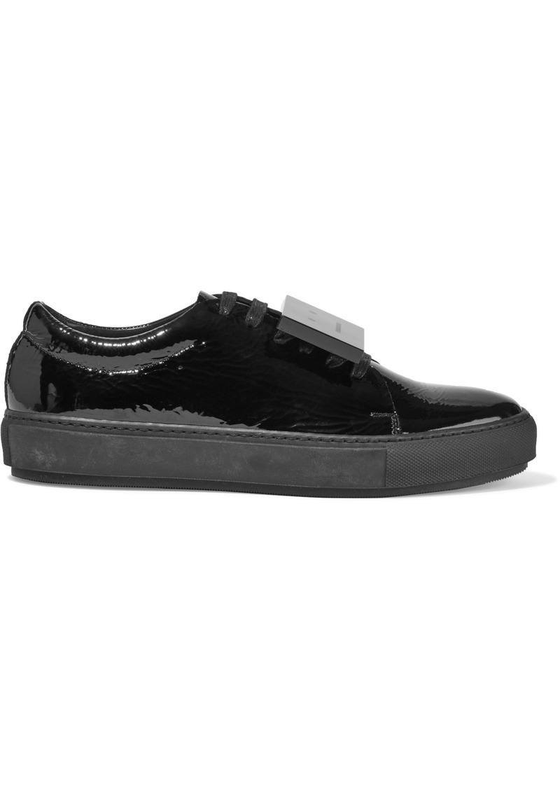 Acne Studios Woman Adriana Embellished Crinkled Patent-leather Sneakers Black