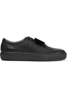 Acne Studios Woman Adriana Plaque-detailed Pebbled-leather Sneakers Black