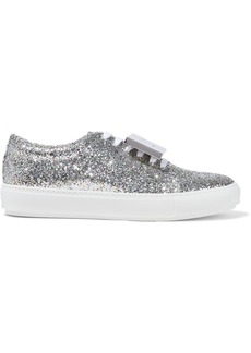 Acne Studios Woman Adriana Spark Plaque-detailed Glittered Leather Sneakers Silver