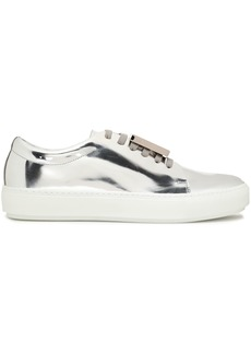 Acne Studios Woman Embellished Mirrored-leather Sneakers Silver
