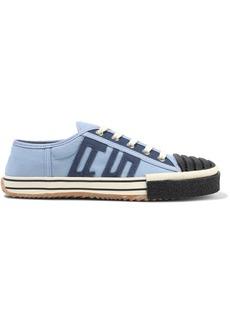 Acne Studios Woman Rubber-trimmed Appliquéd Canvas Sneakers Light Blue