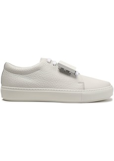 Acne Studios Woman Embellished Textured-leather Sneakers White