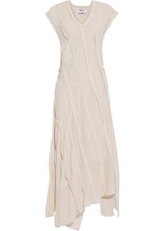 Acne Studios Woman Asymmetric Crepe De Chine Cotton-voile And Georgette Midi Dress Beige